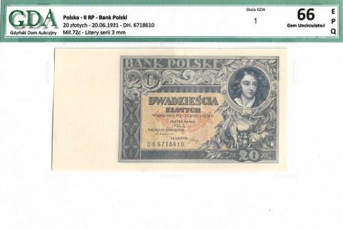 II Republic of Poland, 20 zloty 1931 - GDA 66EPQ