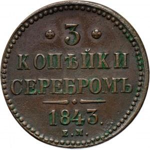 Rosja, Mikołaj I, 3 kopiejki srebrem 1843 E.M., Jekaterinburg, ładne