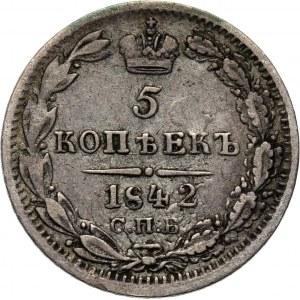 Rosja, Mikołaj I, 5 kopiejek 1842 A Cz, Petersburg, rzadkie