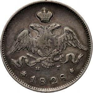 Rosja, Mikołaj I, 25 kopiejek 1828 HG, Petersburg, rzadkie (R)
