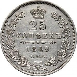 Rosja, Mikołaj I, 25 kopiejek 1849 PA, Petersburg