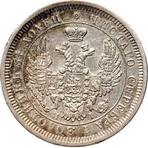 Rosja, Mikołaj I, 25 kopiejek 1854 HI, Petersburg