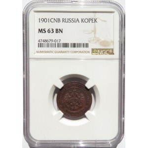 Rosja, Mikołaj II, 1 kopiejka 1901 S.P.B., Petersburg, NGC MS63BN