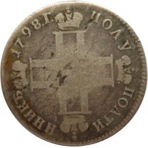 Rosja, Paweł I, połypołtinnik 1798 CM MB, Petersburg (R)