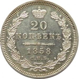 Rosja, Aleksander II, 20 kopiejek 1858 FB, Petersburg