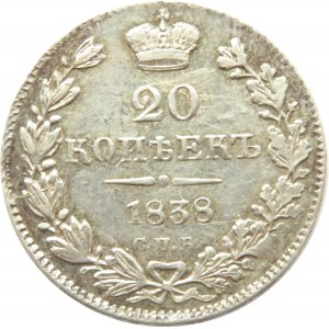 Rosja, Mikołaj I, 20 kopiejek 1838 HG, Petersburg, ładne
