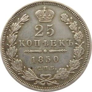 Rosja, Mikołaj I, 25 kopiejek 1850 PA, Petersburg