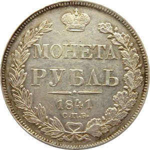 Rosja, Mikołaj I, 1 rubel 1841 HG, Petersburg, piękny!!