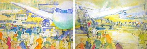 Monika Ślósarczyk, Fragment cyklu Lotnisko (dyptyk), 2019