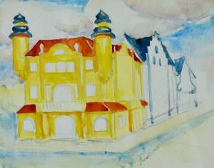 Stanisław Kamocki (1875-1944), Dom w mieście i fragment zabudowy ulicy - studium perspektywy, ok. 1898