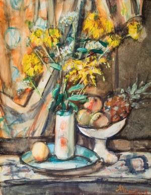 Zygmunt Józef Menkes (1896 Lwów – 1986 Riverdale) Martwa natura z kwiatami, brzoskwiniami i ananasem