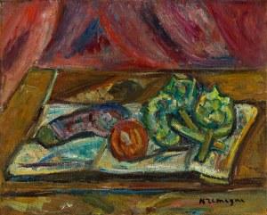Pinchus Krémegne (1890 Zaloudock - 1981 Céret) Martwa natura na stole / Martwa natura z bakłażanem i karczochami