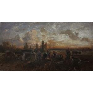 A.N. (XIX/XX w.) O zachodzie słońca [Praca w polu]