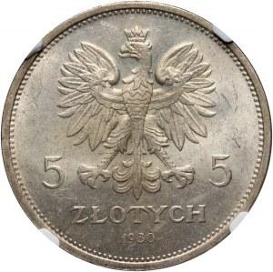 II RP, 5 złotych 1930, Warszawa, Sztandar, stempel płytki