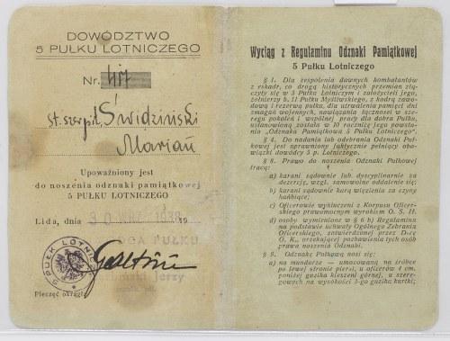 Legitymacja Do Odznaki Pamiątkowej 5 Pułk Lotniczy