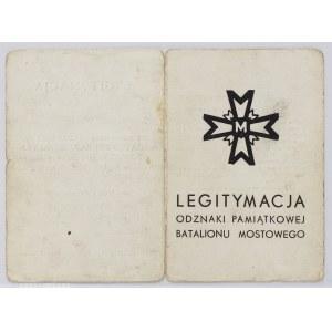 Legitymacja Do Odznaki Pamiątkowej Batalion Mostowy Nr 252