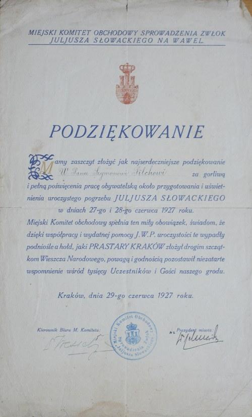 Podziękowanie Za Przygotowanie Pogrzebu Juliusza Słowackiego Z 1927 Roku