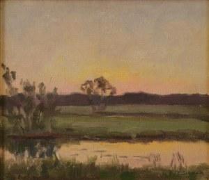 Teodor ZIOMEK (1874-1937), Zachód słońca nad stawem