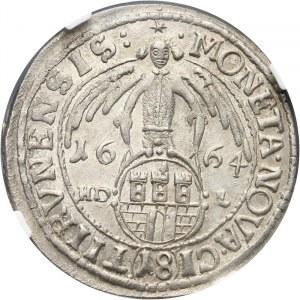Polska, Jan II Kazimierz Waza 1649-1668, ort 1664, Toruń NGC MS62, RZADKI i PIĘKNY