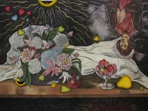 Ziemowit Fincek, Arto Polo, Martwa natura z Kopernikiem i kwiatkami, 2019