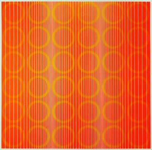 Julian Stańczak (1928-2017), GREEN RINGS IN ORANGE, Z CYKLU: EIGHT VARIATIONS, 1970 r.