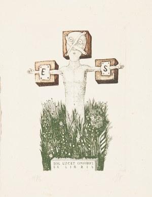 Stasys Eidrigevicius (ur. 1949 Mediniškiai/Litwa), Ex libris Stasys Eidrigevicious, Słońce świeci dla wszystkich, 1976 r.