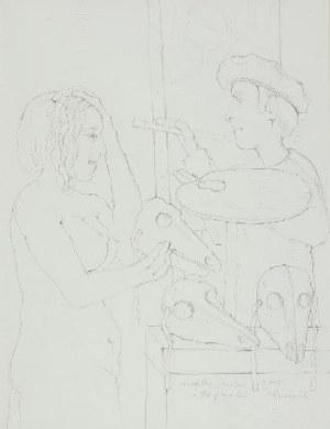 Kiejstut Bereźnicki (ur. 1935 Poznań), Modelka, malarz i trzy maski, 2010 r.