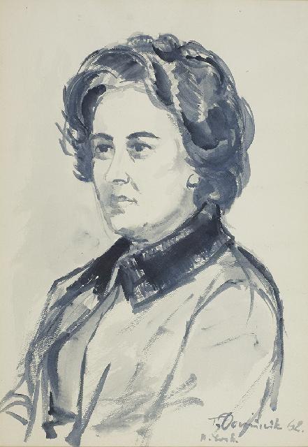 Tadeusz Dominik (1928 Szymanów-2014 Warszawa), Portret Zofii Jordanowskiej, 1962 r.