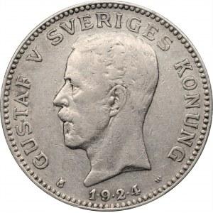 SZWECJA - Gustaw V (1908 - 1950) - 1 korona 1924 - data 1.9.2.4