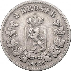 NORWEGIA - Oskar II (1874 - 1906) - 2 korony 1878