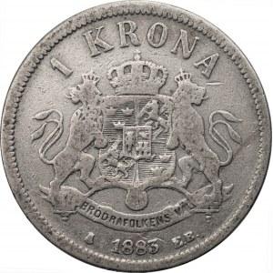 SZWECJA - Oskar II (1873 - 1907) - 1 korona 1883 -