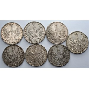 NIEMCY - zestaw 7 sztuk 5 marek (1951-1971) różne mennice