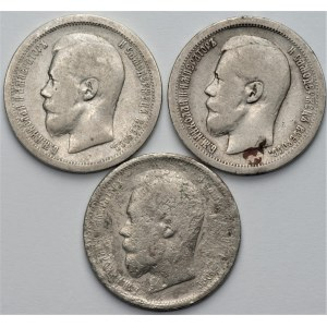 ROSJA - zestaw 3 sztuk 50 kopiejek (1896-1899)