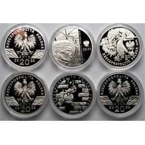 Zestaw 6 monet kolekcjonerskich - 20 złotych (2006-2011) 170,40 gram Ag 925