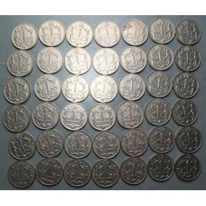 II RP - Zestaw 42 sztuk monet 1 złoty 1929
