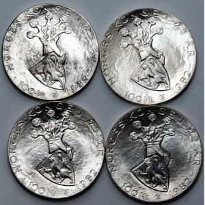 NORWEGIA - zestaw 4 sztuk 100 koron 1982 - 25 rocznica panowania Króla Olafa