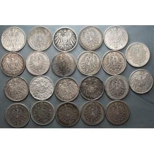 NIEMCY - zestaw 22 sztuk 1 marka (1874-1914) srebro - różne mennice