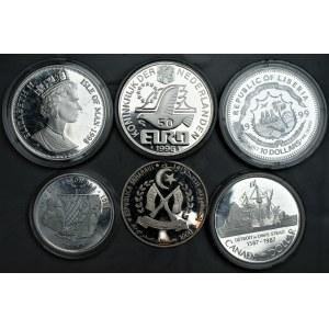 ŚWIAT - zestaw 5 srebrnych monet kolekcjonerskich wybitych stemplem lustrzanym + miedzionikiel