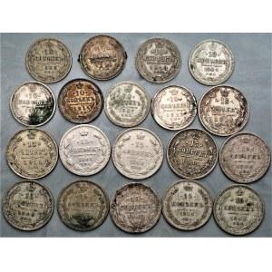 ROSJA - zestaw 19 sztuk 10, 15 i 20 kopiejek (1861 - 1914) srebro