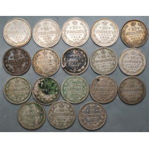 ROSJA - zestaw 18 sztuk 20 kopiejek (1862 - 1914) srebro