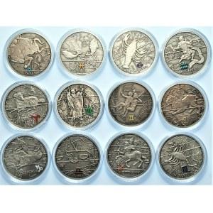 Zestaw 12 sztuk numizmatów z serii Znaki Zodiaku 2009/2010 - komplet - Ag 925