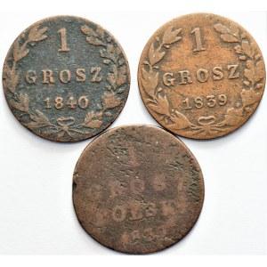 Królestwo Polskie - zestaw 1 grosz 1830, 1839, 1840,