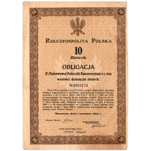 Obligacja 5 % Państwowej Pożyczki Konwersyjnej - 10 złotych 1924