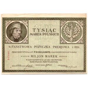 4% Państwowa Pożyczka Premjowa - 1000 marek polskich 1920