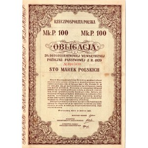 Obligacja 5% Długoterminowej Wewnętrznej Pożyczki Państwowej - 1000 marek polskich 1920