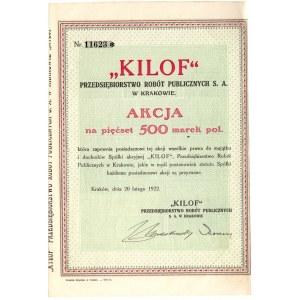 Kilof Przedsiębiorstwo Robót Publicznych w Krakowie - 500 marek polskich 1922