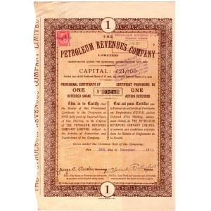 Tymczasowy Certyfikat na 1 akcję Petroleum Revenues Company 1911