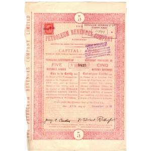 Tymczasowy Certyfikat na 5 akcji Petroleum Revenues Company 1911