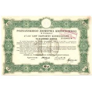 4 % List zastawny Poznańskiego Ziemstwa Kredytowego - 10 złotych 1925 -
