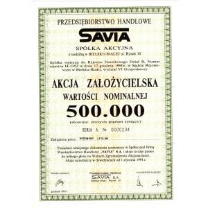 SAVIA Przedsiębiorstwo Handlowe - 500.000 złotych 1991 - założycielska